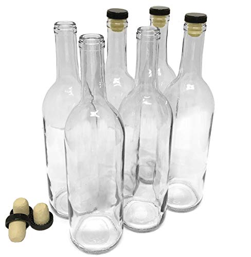 Wine Bottles with Corks, Clear, 750ml - Pack of 6 -