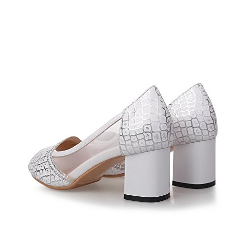 Solid Women's White Kitten Open Pull Heels AllhqFashion On Sandals Toe Pd0wPq