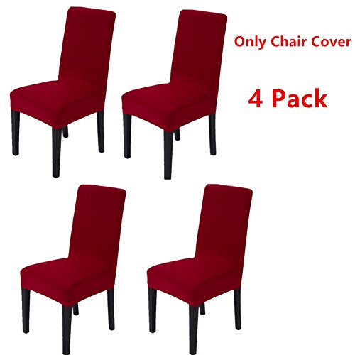 4 Pack Doptou Stretchy Spandex Dining Chair Cover Removable Machine Washable Pure Color Chair Slipcover Furniture Chair Protector Cover for Hotel,Kitchen,Ceremony,Banquet Wedding Party (Wine Red)