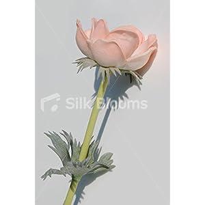 Single Artificial Fresh Touch Peach Anemone, Silk Peach Poppy 6