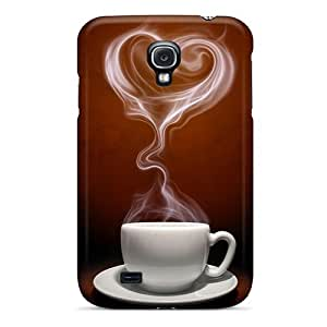 Fashion Protective Coffee Heart Case Cover For Galaxy S4