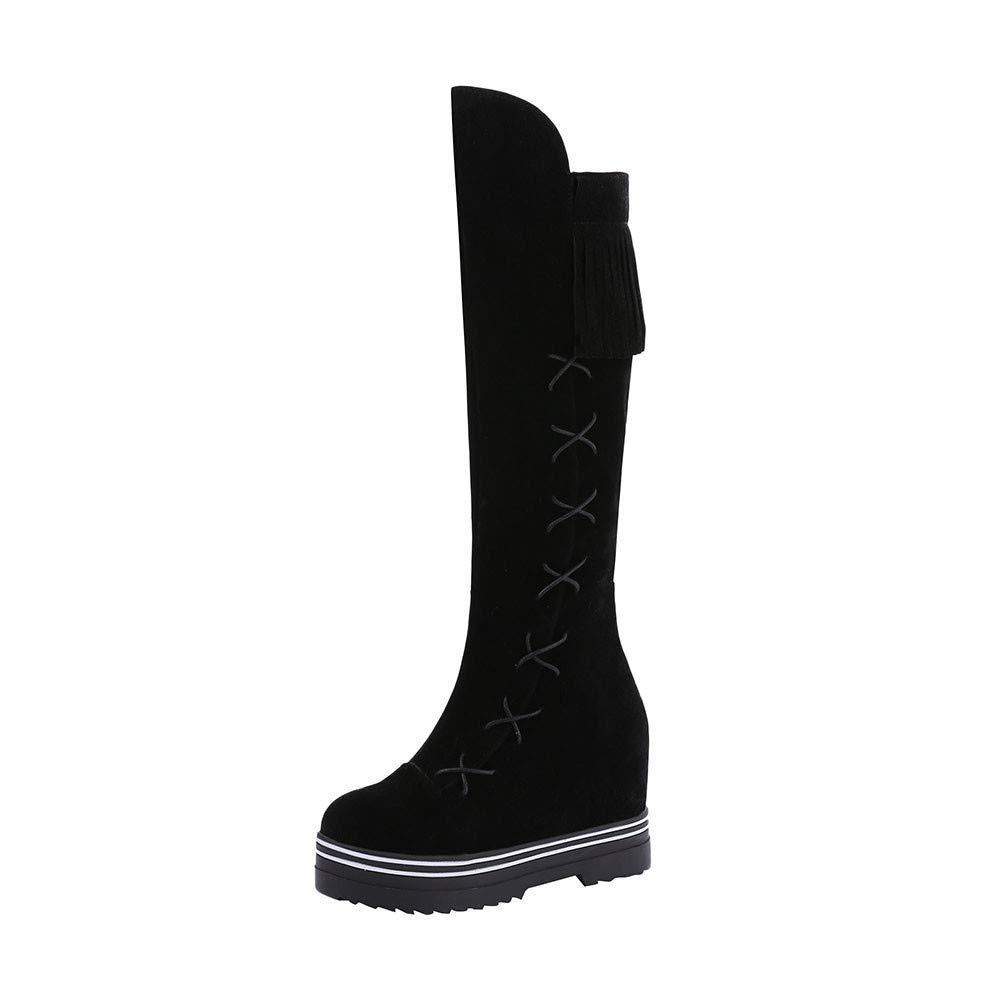 black So8ooa Lady Boots Women Leisure Round Toe Tassel shoes Platform Zipper Peeling Long Tube Martin Boots Fashion Cosy Wild Casual Quality Super Elegant for Womens