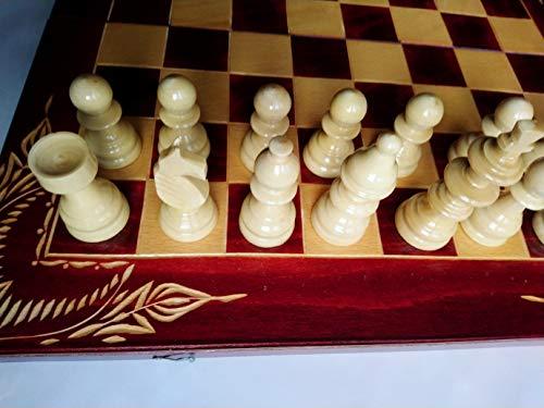 Nuevo rojo juego de ajedrez de madera, backgammon, damas, 44x44 cm caja de tablero de ajedrez