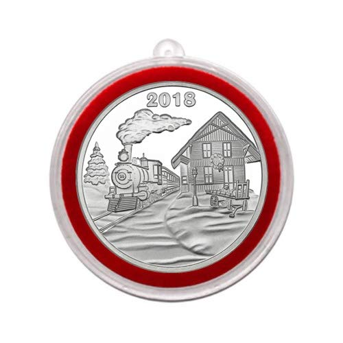 Collectible Silver Medallion - 2018 - Holiday Train Depot Silver Medallion in Ornament Holder - Uncirculated