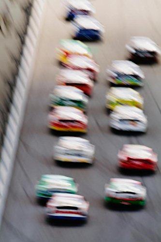 Stock Cars on Race Track Blurred Motion Speed Photo Art Print Poster 24x36 inch (Carl Edwards Best Tracks)