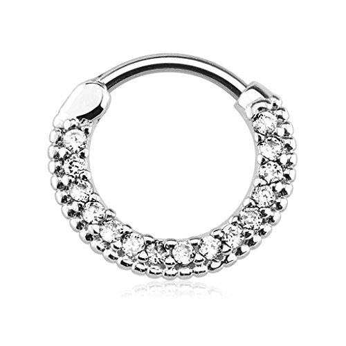 16g 10mm Rounded Top Pave Clear CZ Clicker Hoop for Septum & Cartilage Piercings