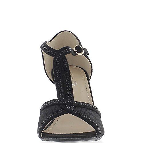 ChaussMoi Sandales Grande Taille Noires à Talon DE 9 CM Aspect Daim et Strass