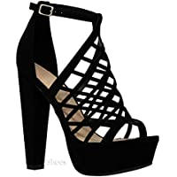 MVE Shoes Womens Stylish Block Heel Platform Cutout Design Comfortable Back Zipper