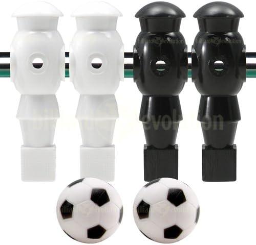 4 blanco y negro robot futbolín Hombres y 2 pelotas de fútbol ...