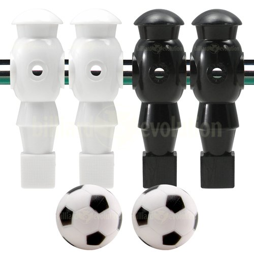 Billiard Evolution 4 White and Black Robotic Foosball Men and 2 Soccer Balls by Billiard Evolution