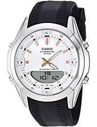 Men's Dress Stainless Steel Quartz Watch with Resin Strap, Black, 21 (Model: AMW-840-7ACVCF)