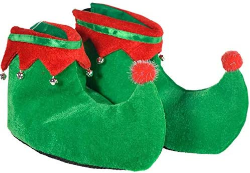 Plush Fabric Elf Slippers Party Costume Supplies Red 4Es Novelty Elf Shoes for Adults Men /& Women Green Christmas Elf Costume Accessories