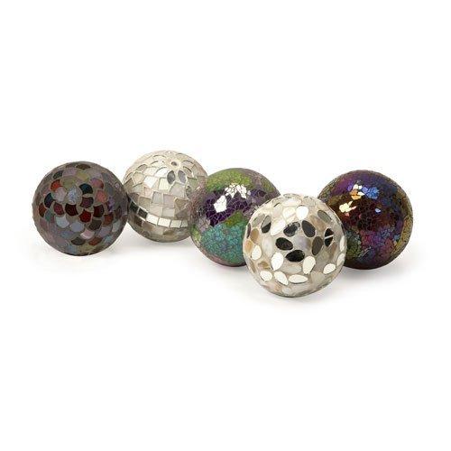 Glass Balls Decorative (IMAX 1994-5 Abbot Mosaic Deco Balls - Set of 5 Ball Sculpture Figurines as Decorative Accessories for Parties, Banquet Halls, Reception Areas.  Craft Supplies)