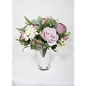 Sweet Home Deco 8''W Silk Floral Arrangement, Artificial Rose Arrangement, Silk Flower Centerpiece, Silver Floral Vase, Table Flowers, Wedding/Home/Party Decoration, Purple/Pink 66