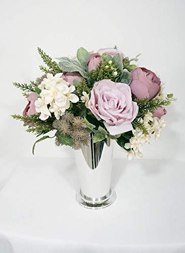 Sweet Home Deco 8''W Silk Floral Arrangement, Artificial Rose Arrangement, Silk Flower Centerpiece, Silver Floral Vase, Table Flowers, Wedding/Home/Party Decoration, Purple/Pink
