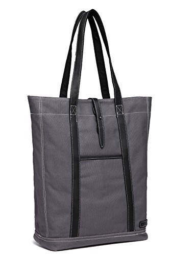 - Large Canvas Tote,Vaschy Vintage Leather Shopper Work Tote Bag for Women Gray