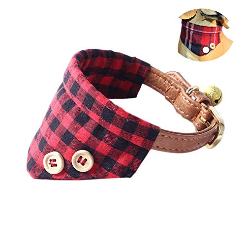 QUMY Small Dog and Cat Bandana Adjustable Puppy Buckle Collar Leather Cute Red Bandana Dog Collar with Bell (A)