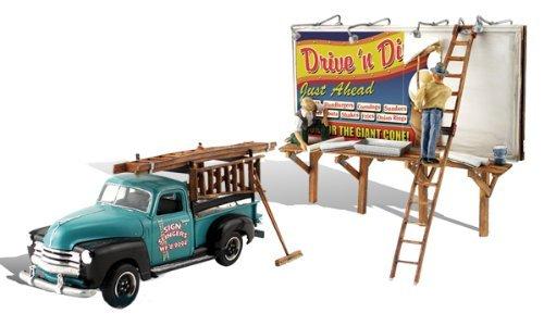 Woodland Autoscene Sign Slingers w Pickup Truck & Figures by Scenics