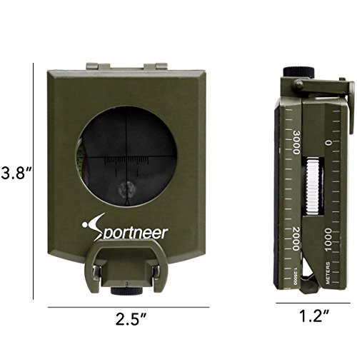 Sportneer Multifunctional Military Lensatic Sighting Compass with Inclinometer and Carrying Bag, Waterproof and Shakeproof, Army Green by Sportneer (Image #6)