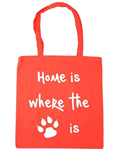 HippoWarehouse Home Is Where The Cat is Einkaufstasche Fitnessstudio Strandtasche 42cm x38cm, 10 liter - Koralle, One size