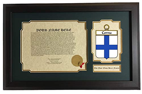 Cornu - Coat of Arms and Last Name History, 14x22 Inches, used for sale  Delivered anywhere in USA
