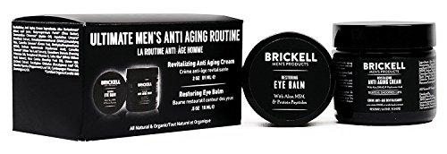 Brickell Men's Ultimate Anti Aging Routine - Nachtcreme & Augencreme gegen Falten und Augenringe - Anti Falten Creme gegen Tränensäcke & geschwollene Augen - Natürlich & organisch - Parfümiert