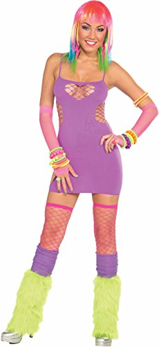 Sweetheart Candy Costume (Women's Sexy Club Candy Rave Party or 80s Purple Sweetheart Party Costume Dress)