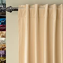 FirstHomer Set of 2 Solid Matt Thermal Insulated Blackout Velvet Curtain Panel Drapes Back Tab / Rod Pocket ,Cream , 50W By 84L Inch
