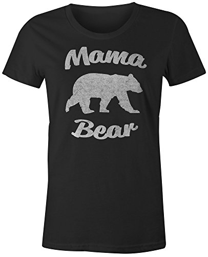 9 Crowns Tees Women's Mother's Day Gift Sweet Funny Shirts T-Shirts-MamaBear-Black-2XL