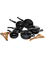 Melange Nonstick Scratch Resistant Ceramic Coating PTFE-PFOA-Cadmium-Lead Free Dishwasher Safe 15 Piece Cookware...