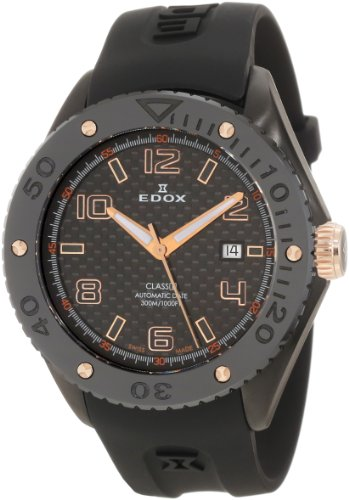 Edox Men's 'Class-1' Swiss Automatic Stainless Steel and Rubber Sport Watch, Color:Black (Model: 80078 357RN NIR2)