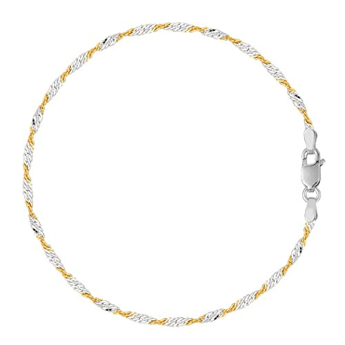 Sterling Silver White Anklet (White And Yellow Singapore Style Chain Anklet In Sterling Silver,)