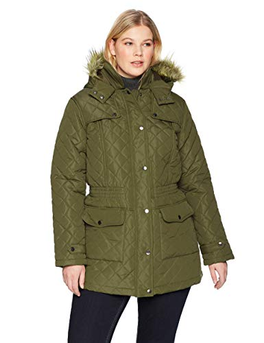 (The Plus Project Women's Quilted Long Coat with Pockets X-Large Khaki)