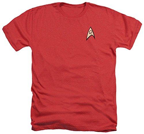 (Star Trek TV Series Scotty Engineering Uniform Red Adult Heather T-Shirt Tee)