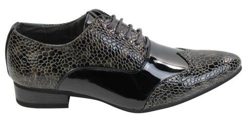 Hombres patente italiana brillante serpiente cuero Zapatos atados negro marrón gris VU1A9F