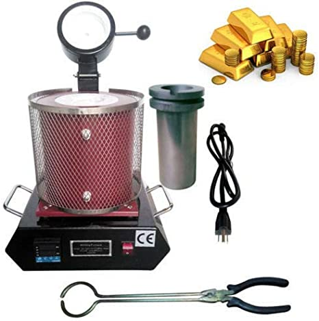 1400W 2KG Silver Copper and Aluminum Smelter Casting Refining Kiln Tools Gold Melting Furnace 1150℃ //2102 ℉ Electric Digital Melting Furnace Machine with Graphite Crucible.Gold