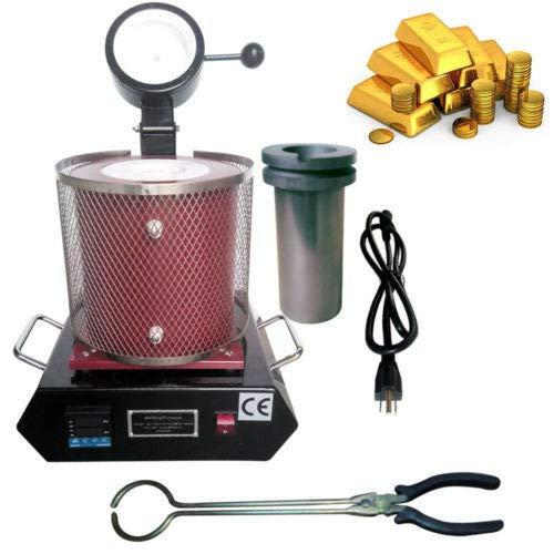 Electric Melting Furnace, 1150℃/2102 ℉ Digital Melter Melting Scrap Machine 1500W Casting Refining Precious Metals Gold Silver Copper 2KG Red