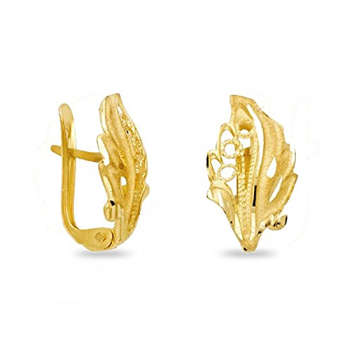 Leaf Huggie Earrings Solid 14k Yellow Gold Clip On Closure U Shape Polished Finish Fancy Style 15 mm by GemApex