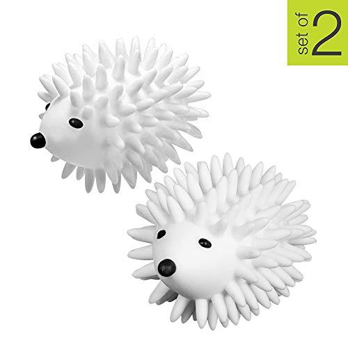 Smart Design Plastic Dryer Balls w/Spikes - Fabric Softener - Eliminates Wrinkles & Reduces Static - for Laundry, Clothes, Fabrics - Home Organization - (2 Pack) [Hedgehog] (Dryer Balls Hedgehog)