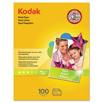 Kodak Photo Paper, 6.5 Mil, Glossy, 8-1/2 X 11, 100 Sheets/P
