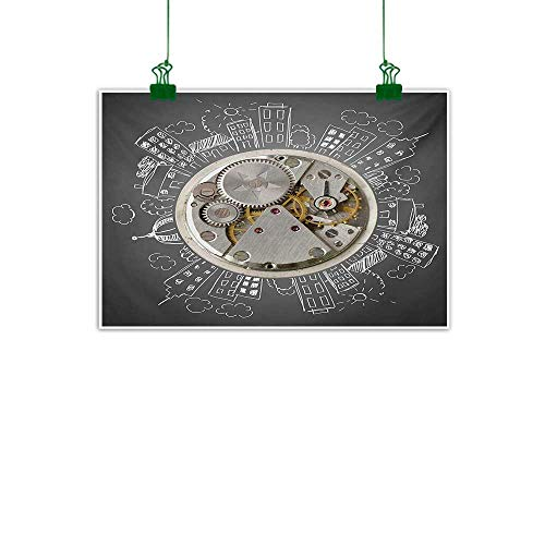 Clock,Abstract Art an Alarm Clock Print with Buildings and Clouds Around It Checking The Time Art Wall Hanging Decoration Beige and White W 36