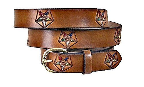 MASONIC OES ORDER OF THE EASTERN STAR LEATHER BELT 1 1/2