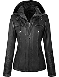 Womens Hooded Faux Leather Jacket Quilted Zip Up Jacket S-2XL
