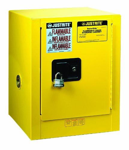Justrite 8904205 Sure-Grip EX Steel Self Close Countertop Safety Cabinet, 4 Gallon Capacity, Yellow