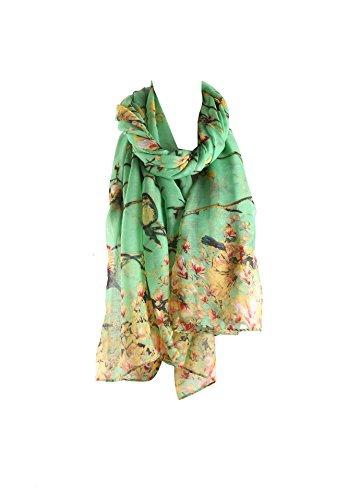 En châle Acvip Longue Femme Echarpe foulard Oiseau Imprimé Doux Vert Voile xwqpI8A