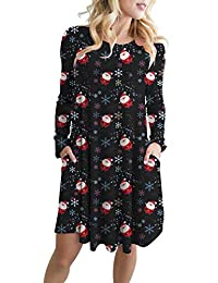 ZIOOER Women Long Sleeve Print Swing T-Shirt Tunic Dress Ugly Christmas Dresses with Pockets