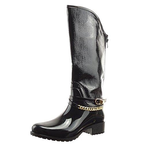 Sopily - damen Mode Schuhe Stiefel Gummistiefel Reitstiefel - Kavalier Schlangenhaut Kette golden - Schwarz
