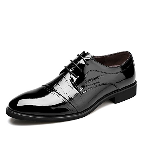 OUOUVALLEY Lace Up Patent Leather Oxford Dress Shoes Formal Wedding Shoes 8015 Black 10.5 D(M) US
