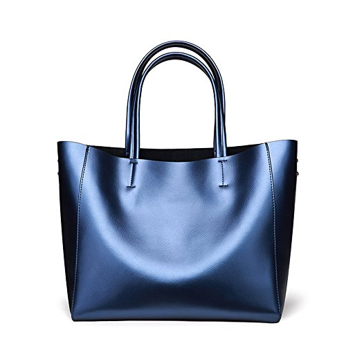 Bag Capacity Summer Large Bags color Messenger Shopping Handbags Blue Women Yamyannie Lady Winter Shoulder Bronze Leather Tote qwzTgn7E