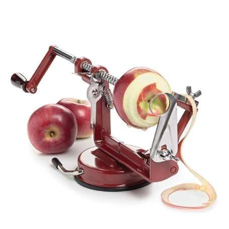 MEGLIO AEAP01 Apple and Potato Peeler Corer and Slicer, Cast-Iron Body, Suction Base